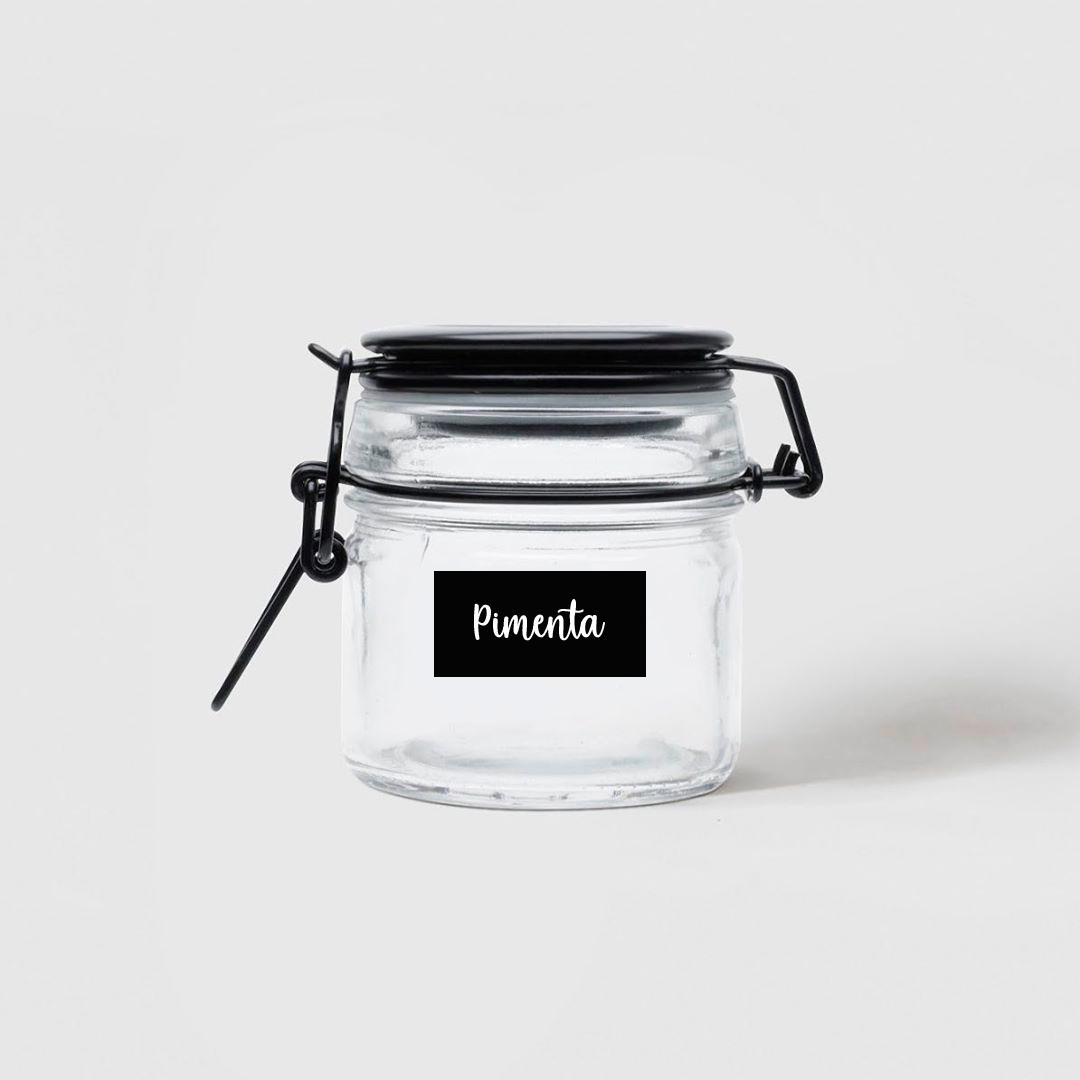 70 Adesivos para potes - Etiquetas de cozinha - Preto - 4x2 cm