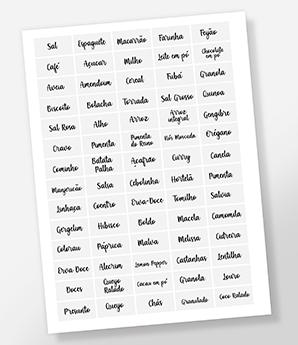 70 Adesivos para potes - Etiquetas de cozinha - Transparente - 4x2 cm