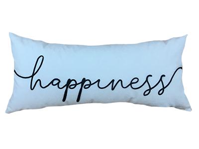 Almofada de veludo bordada HAPPINESS