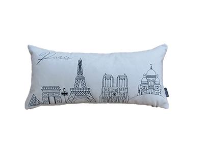 Almofada de veludo bordada PARIS