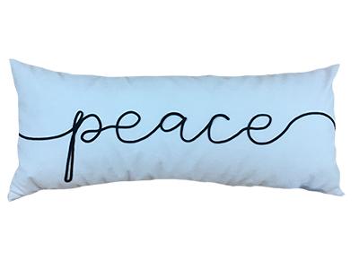 Almofada de veludo bordada PEACE