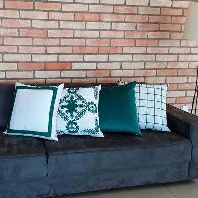 Almofada de veludo Soft Liso 52x52cm verde