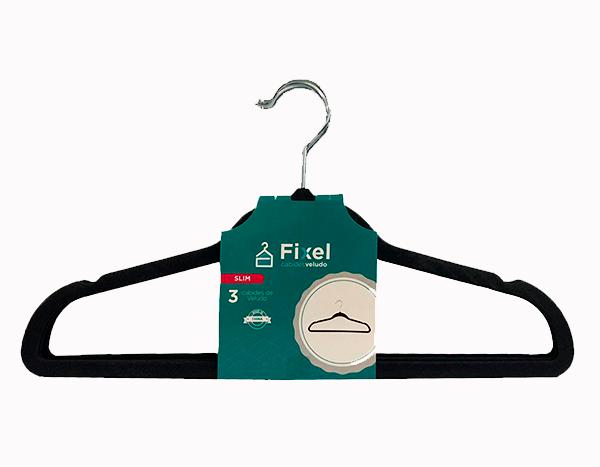 Cabide de veludo Adulto - Cinza com gancho prata - Fixel Slim