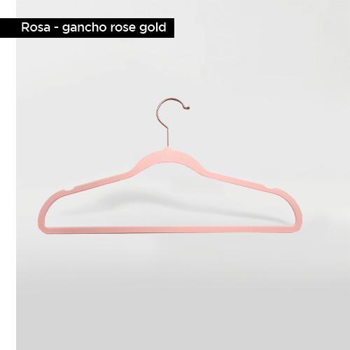 Cabide de veludo Adulto - Rosa com gancho Rose Gold - Fixel