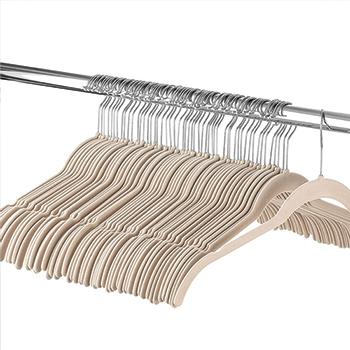 Cabide de veludo Camiseta Adulto - Nude com gancho prata - Fixel