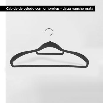 Cabide de veludo com Ombreiras - Cinza com gancho prata - Fixel