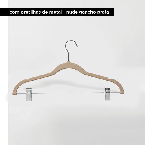 Cabide de veludo com presilhas - Nude com gancho prata - Fixel