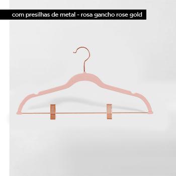 Cabide de veludo com presilhas - Rosa com gancho Rose Gold - Fixel