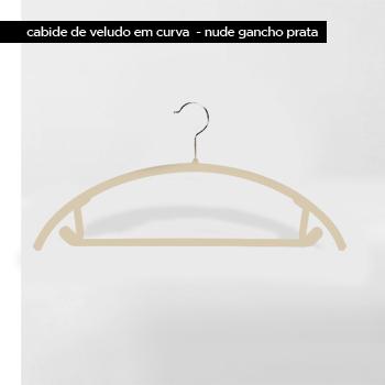 Cabide de veludo Curva - Nude com gancho prata