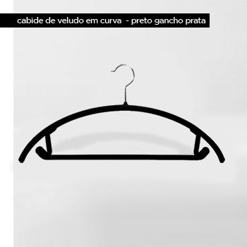Cabide de veludo Curva - Preto com gancho prata