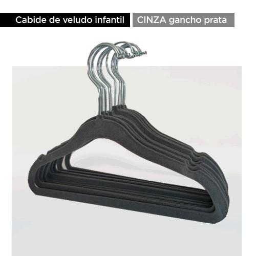 Cabide de veludo infantil - Cinza com gancho prata - 30 cm - Fixel Kids