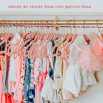 Cabide de veludo infantil - Rosa com gancho Rose Gold - 30 cm - Fixel Kids