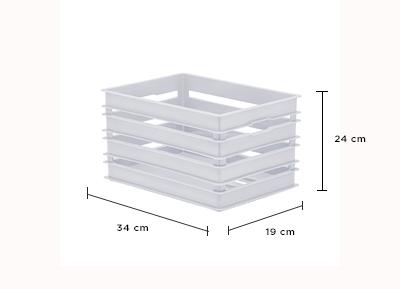 Caixote Alto M - Organizador 34x24x19 cm - Branco - 1216