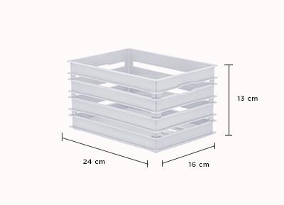 Caixote Alto P - Organizador 24x16x13 cm - Branco - 1215
