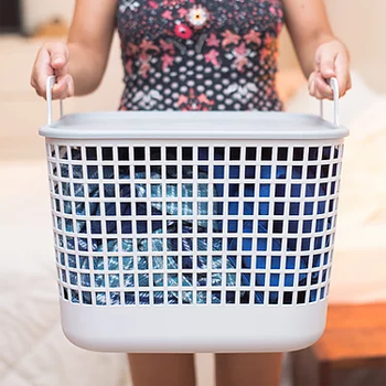 Cesto organizador de plástico com tampa - GRANDE  - CINZA