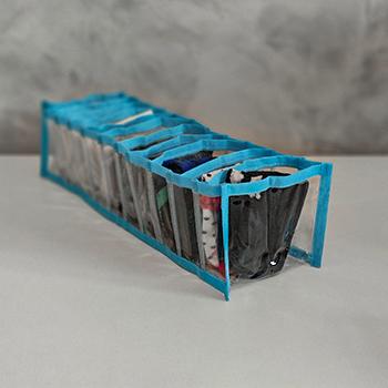 Colmeia Organizadora Cristal Azul - Tamanho P - 13x38x10cm