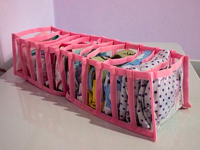 Colmeia Organizadora  Fixel Cristal Rosa - Tamanho P - 13x38x10cm