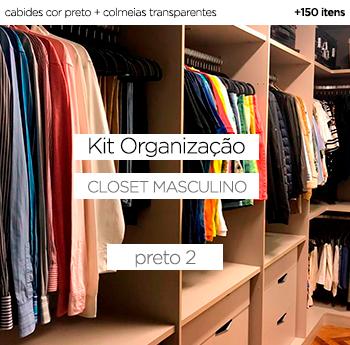 Kit Organização Closet Masculino - Preto 2
