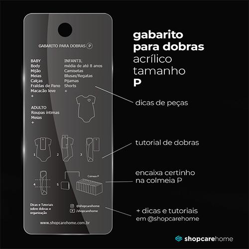 P - Gabarito para dobras Acrílico - 10x25cm