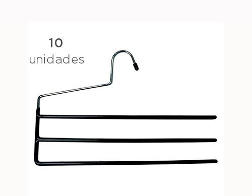 Kit 10 und. - Cabide de metal emborrachado para calça
