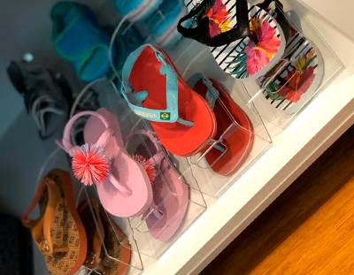 Organizador de Sapatos Cristal Acrílico Infantil - Kit 6 unidades