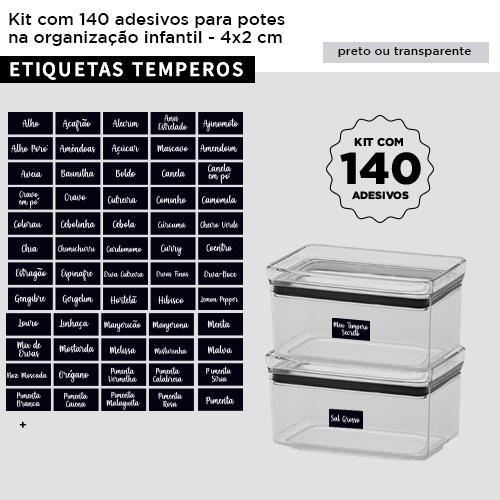 Kit 140 etiquetas adesivas para potes - TEMPEROS - 4x2 cm