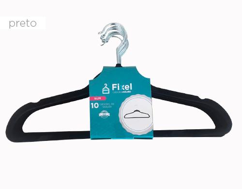Cabide de Veludo Adulto Fixel Slim - Kit 20 Unidades
