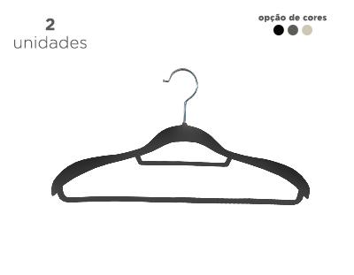 Cabide de veludo com ombreiras - Fixel para ternos - Kit com 2 unidades