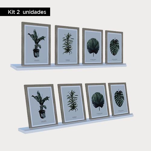 Kit 2 unidades - Prateleiras com acrílico 90 cm - Branco/Preto