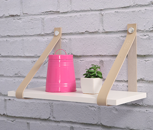 Kit 2 unidades - Prateleiras com tiras de couro 40x20 cm