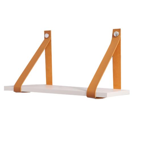 Kit 2 unidades - Prateleiras com tiras de couro Estilo - 60x20 cm
