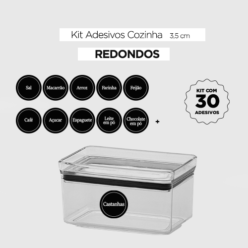 Kit 30 Adesivos redondos para potes - COZINHA  - 4 cm