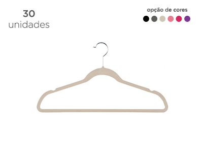 Cabide de Veludo Adulto Fixel Slim - Kit 30 Unidades