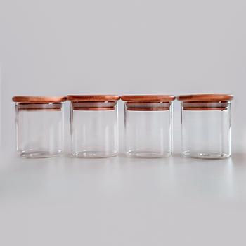 Kit 4 potes de vidro com tampa de bambu - 200 ml Não passa ar