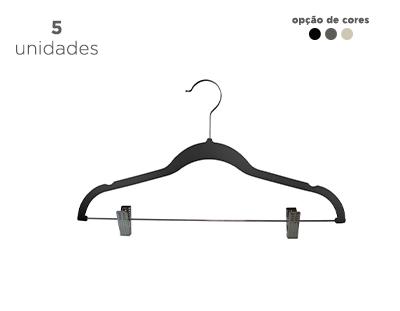Cabide de veludo Fixel para saia com presilhas - Kit 5 unidades