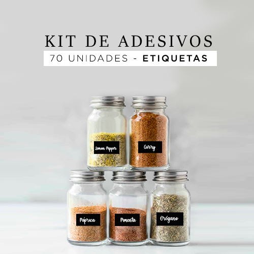 Kit 70 etiquetas adesivas para potes  -Adesivos para cozinha - Preto - 4x2 cm
