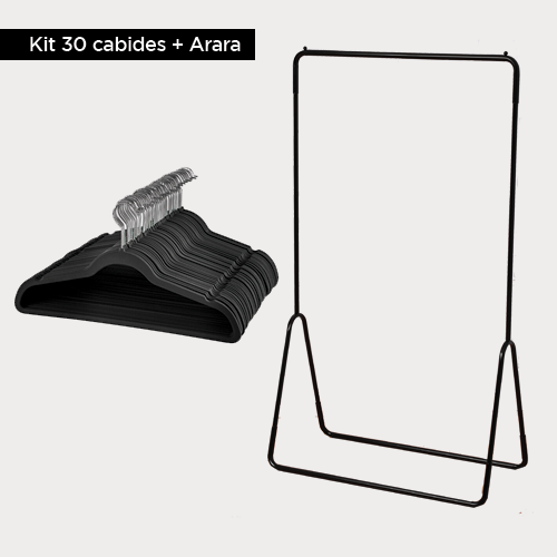 Kit - Arara + 30 cabides de veludo Adulto Slim Cinza