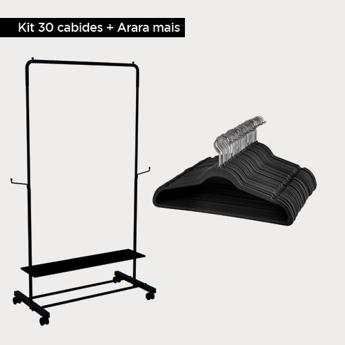Kit Arara de roupas + 30 Cabides de veludo Adulto Slim Cinza