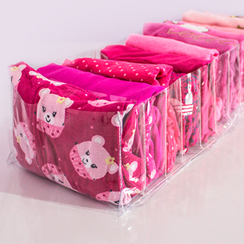 KIT BABY ROSA 2 - 30 cabides infantil Rose Gold + 6 colmeias transparente
