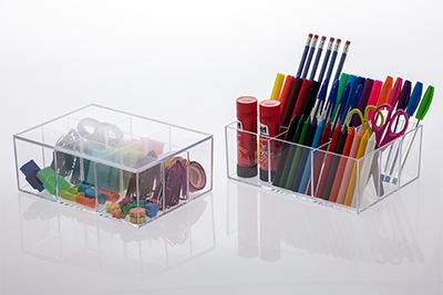 Kit caixas organizadoras c/ divisória e tampa - 22,5x16,5x8,5 cm