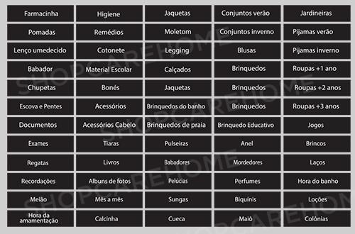 Kit com 130 etiquetas adesivas para identificação - ORGANIZAÇÃO BABY - 4x1 cm - Preto ou Transparente