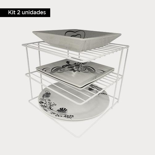 Kit com 2 unidades - Porta pratos Quadrado Aramado