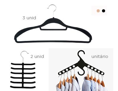 Kit com 3 Cabides de veludo para terno + 2 Cabides para gravata + Cabide Multifuncional