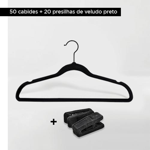Kit com 50 cabides de veludo adulto gancho preto + 20 presilhas de veludo