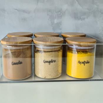 Kit com 6 potes de vidro com tampa de bambu 200ml para temperos + Caixa organizadora