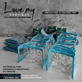 Kit de organização - My baby boy - cabides de veludo Azul gancho prata e colmeias cor Azul