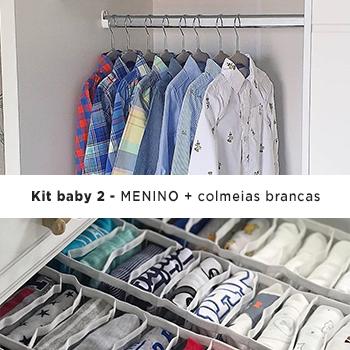 Kit Organização Baby 2 MENINO - 50 Cabides Infantil e 12 Colmeias Cristal Branca
