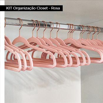 KIT Organização Closet Adulto Rosa - gancho rose gold