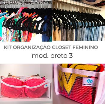 Kit Organização Closet Feminino - Preto 3