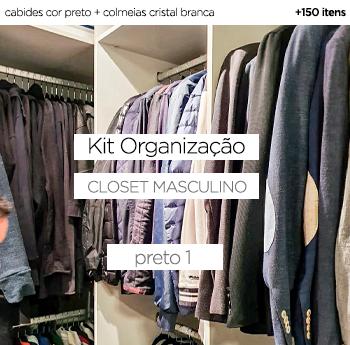 Kit Organização Closet Masculino - Preto 1